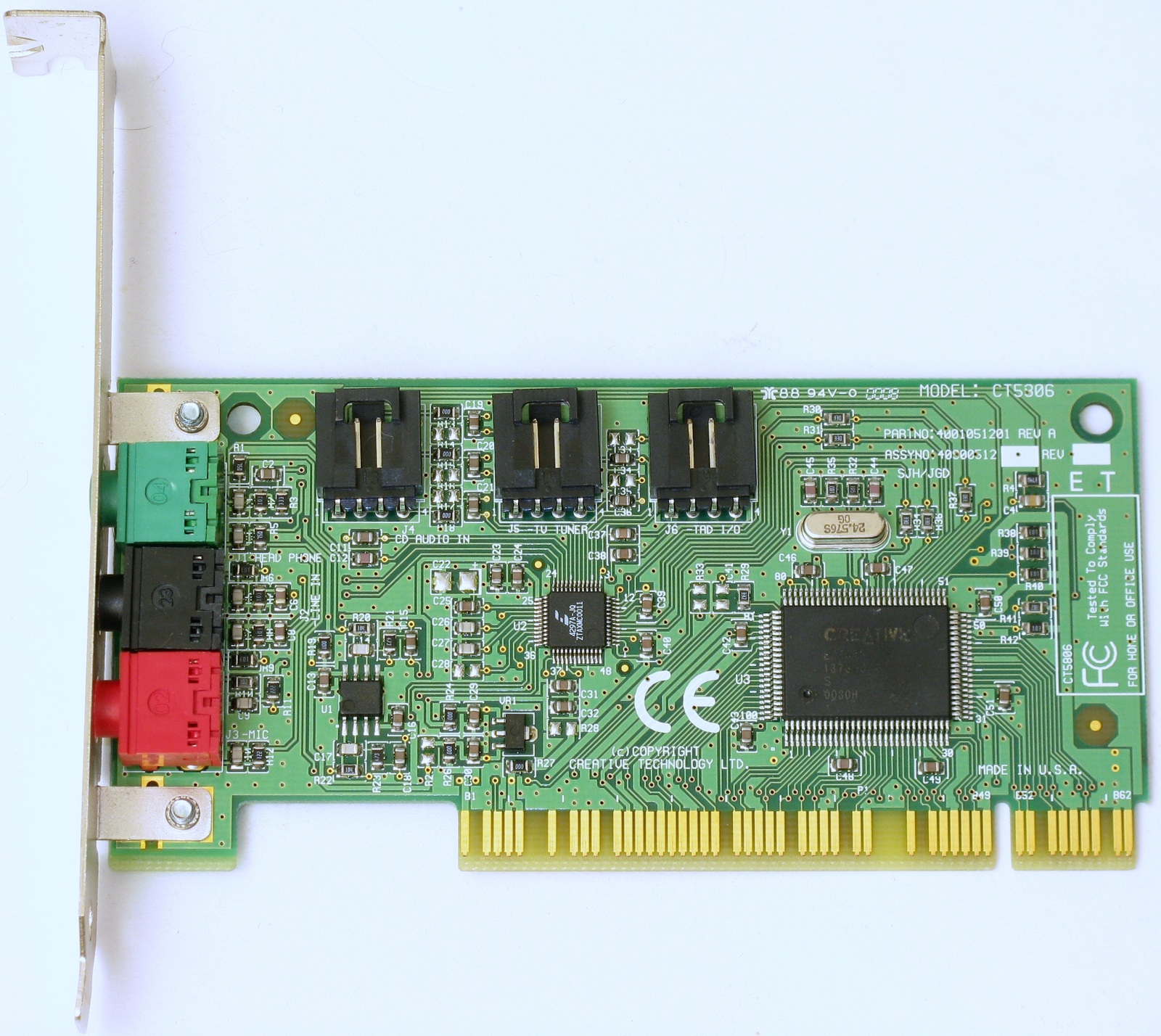 Creative sb pci128 ensoniq es1371 sound card pci